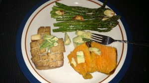Dinner of tofu SP asp avo